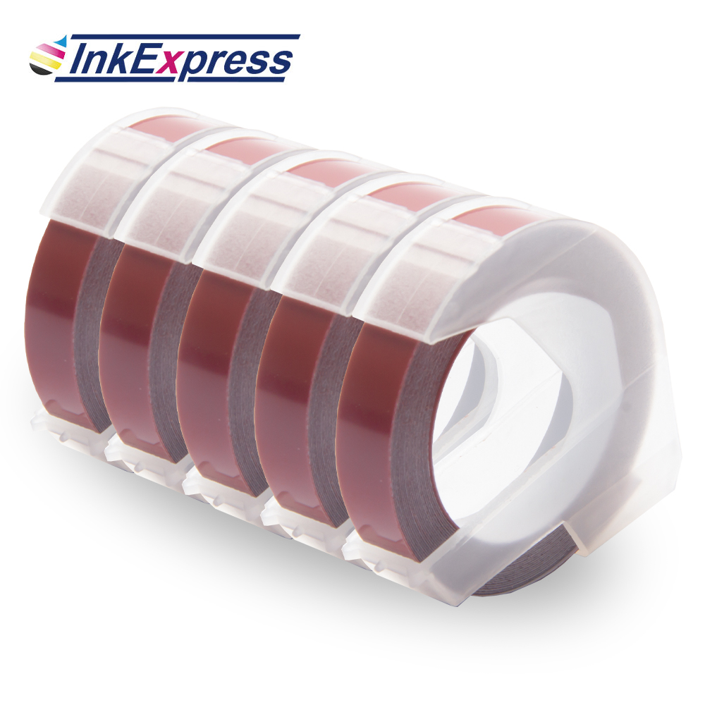 5PK 9mm White//Red Compatible for Dymo 3D Plastic Embossing Tape  Label Makers