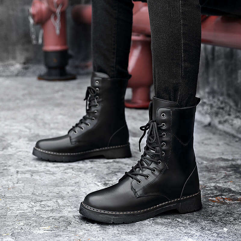 Men Boots Winter Shoes for Mens Lace-Up Style Winter Fashion Sneakers Casual Plush Keep Warm Youth Cotton Shoes Snow Boots T6
