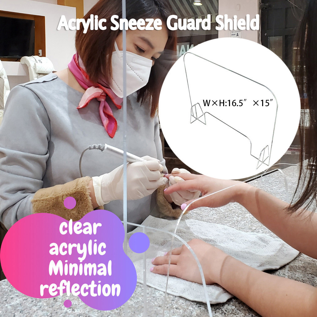 Acrylic Sneeze Guard Shield Protection Safety Counter Top 38x42cm For Restaurant Grocery Stores Salons Retailers Health Manage