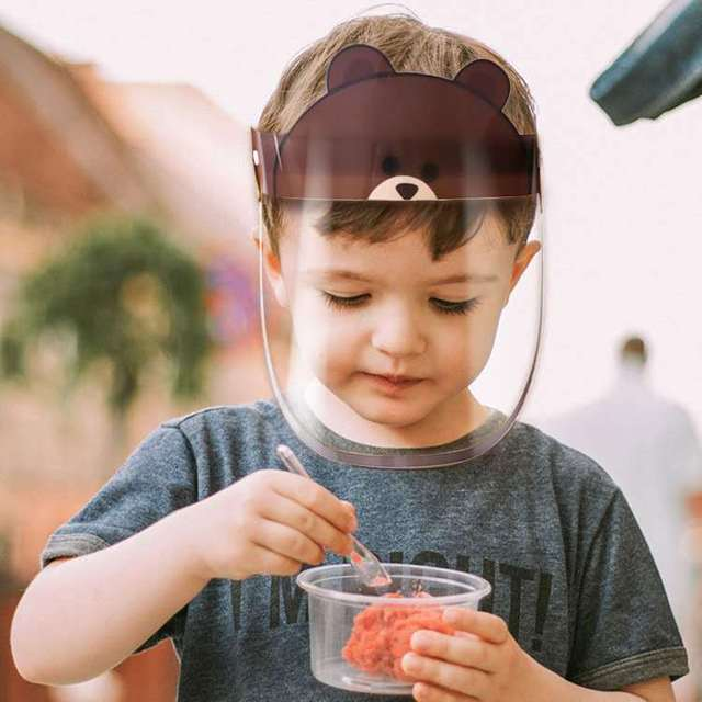 Children Kids Full Face Shield Anti Virus Protection Mask Removable Anti-dust Anti-droplet Spittle Face Covering Bucket Sun Cap 2