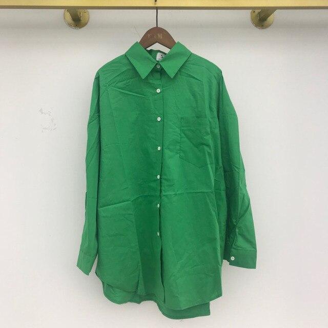 [EWQ] Korean Chic Spring Temperament Light Green Shirt Coats Women Loose Casual Blouse Turn-down Collar Blouse 2021 Summer 3