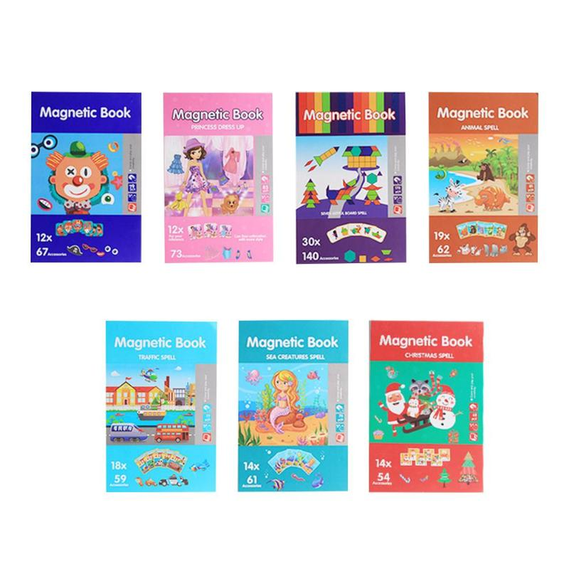 Cartoon Magnetic Jigsaw Puzzles Toddler Toys Educational Book Travel Games Gift For Children