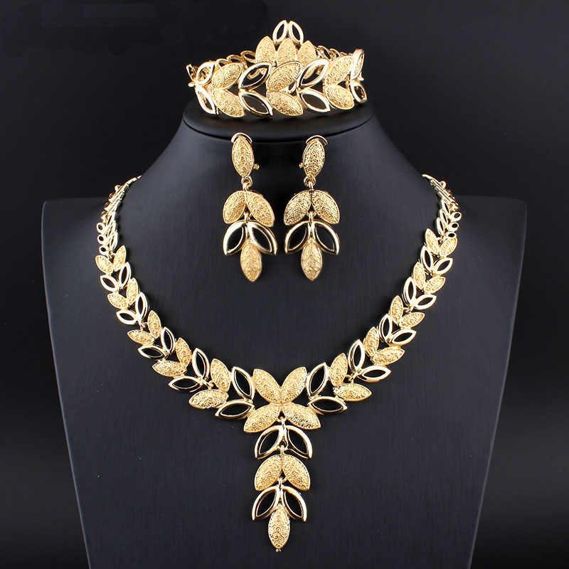 الأزياء دبي الذهب اللون مجوهرات الأفريقية ليف قلادة القرط سوار حلقة الإناث الايطالية الزفاف طقم مجوهرات الزفاف