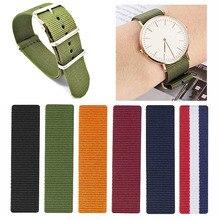 Ремешок Zulu NATO для наручных часов, однотонный плетеный нейлоновый браслет с пряжкой, в стиле милитари, НАТО, 18 мм 20 мм 22 мм 24 мм