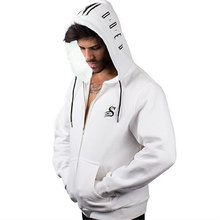 New Winter Sports Jacket Men's Muscle Fitness Outdoor Leisure Running Training Loose Large Size Hooded Jacket Fitness Clothes
