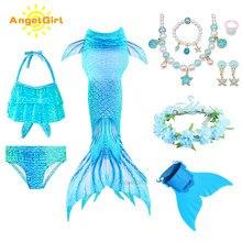 AngelGirl 2020 kız Swimmable Mermaid kuyruk prenses elbise Monofin çocuklar tatil Mermaid kostüm Cosplay mayo doğum günü