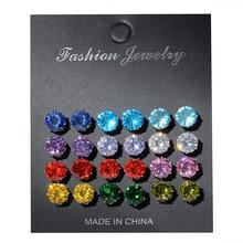 12 Pairs/Set Fashion Rhinestone Stud Earrings set Colored Crystal for women girls charm Elegant Party Wedding Jewelry