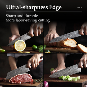 Image 5 - XINZUO 5 PCS Kitchen Knife Set Damascus Stainless Steel Knife Japanese New Chef Paring Santoku Slicing Utility Cooking Knives