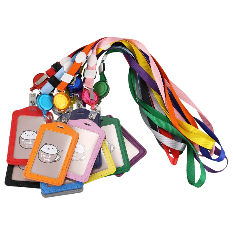 10 Pieces Vertical Style Leather Business ID Badge Card Holder With 10 Pieces Retractable Lanyard Neck Strap Band