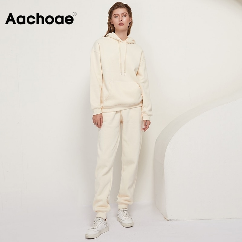 Aachoae 2020 Solid 100% Cotton Suits Women Set Fleece Pullover Hooded Hoodies Sweatshirts Casual Pants Tracksuit Plus Size