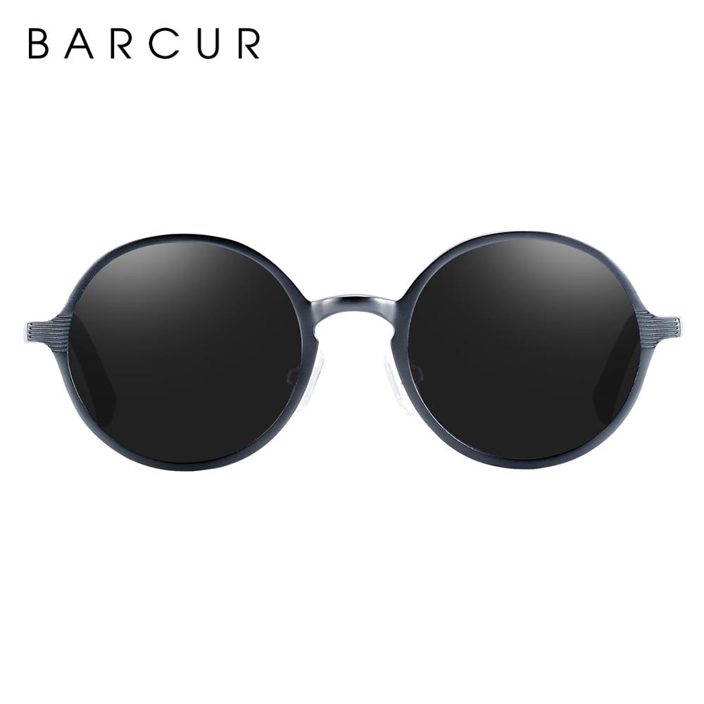 BARCUR Hot Black Goggle Male Round Sunglasses Luxury Brand Men Glasses Retro Vintage Women Sun glasses UV400 Retro Style 8