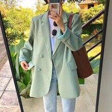Suit Jacket Outwear Blaser Green Fashion Spring One-Button Female Summer Chic Autumn