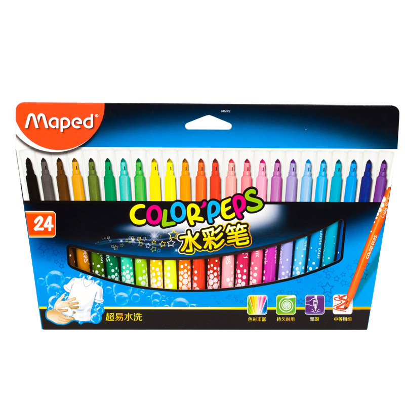 MAPED Watercolor Pen 24 Color Children Painted-Washing Watercolor Drawing Pen Set 845022 Office Stationery