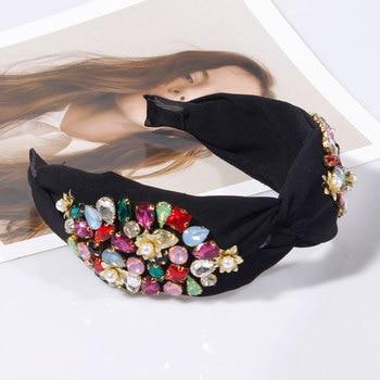 Pearl Flower Crystal Rhinestone Top Knotted  Headbands 4