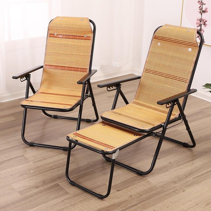 Inclinable pliant pause déjeuner personnes âgées été balcon dormir bambou chaise bureau pliant dossier chaise bambou inclinable - 4