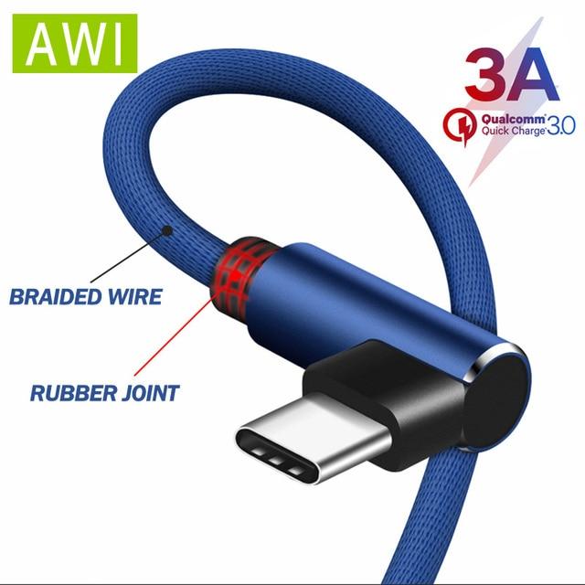 AWI 90 degrés coude USB type C câble pour Samsung S9 S8 Charge rapide pour Huawei P30 Pro Xiaomi Redmi Note câble de données de Charge câble