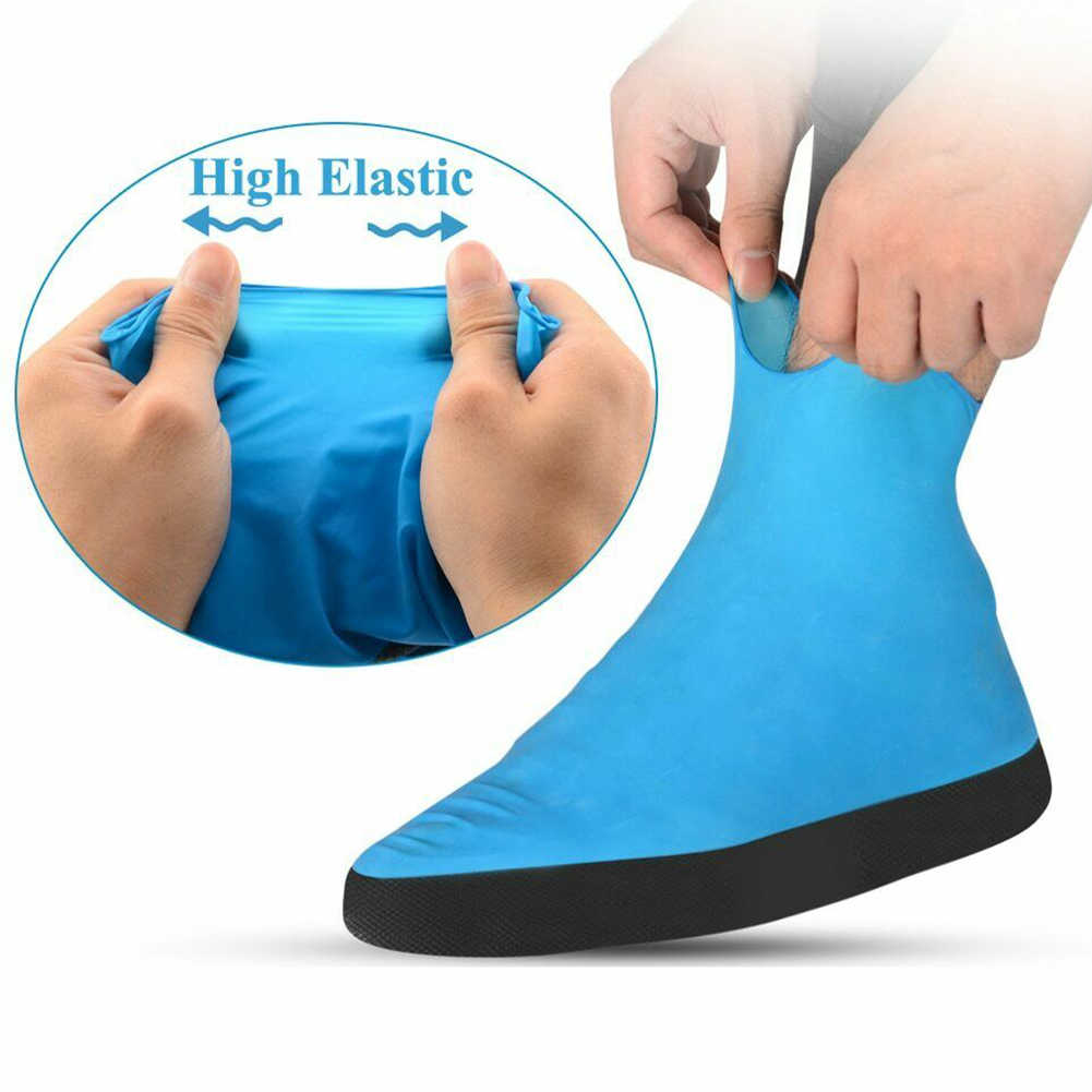 1 par Anti lluvia emulsión gruesa cubierta de zapato mujeres hombres elástico protector portátil impermeable de viaje al aire libre Botas de lluvia cubierta de desgaste