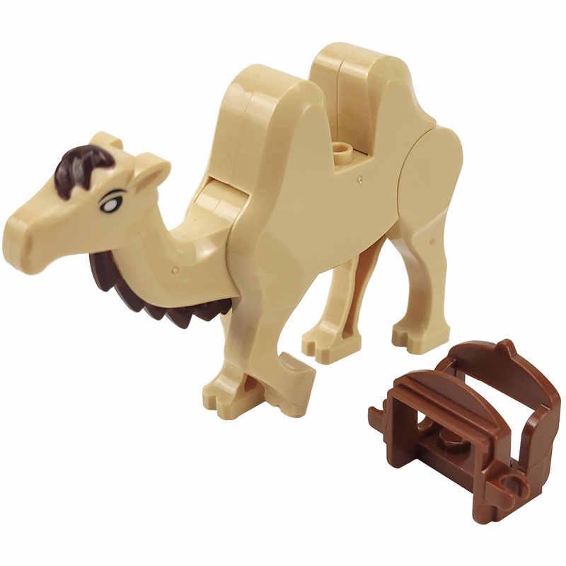 ล็อค MOC สัตว์อูฐกับอานอาคารบล็อกของเล่นเด็กประกอบสัตว์ DIY ชิ้นส่วนของขวัญการเรียนรู้สำหรับเด็ก