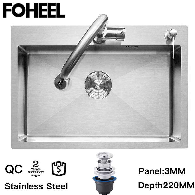 FOHEEL Kitchen Sink Basin Single Kitchen Sink Drain Basket And Drain Pip Rectangular  Stainless Steel