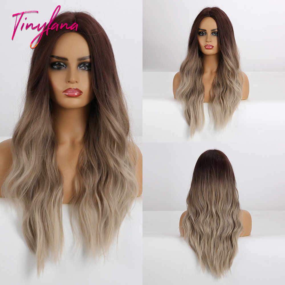 Kecil Lana Panjang Gelombang Ombre Coklat Rambut Pirang Ash Wig Abu-abu Sintetis Wig untuk Wanita Alami Bagian Tengah Tahan Panas Rambut cosplay