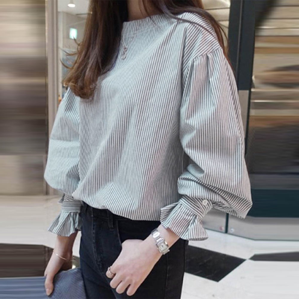 Stripe Round Neck Lantern Sleeve Pullover Women's Blouse Korean Spring Autumn Long Sleeve Office Ladies Causal Tops Shirts