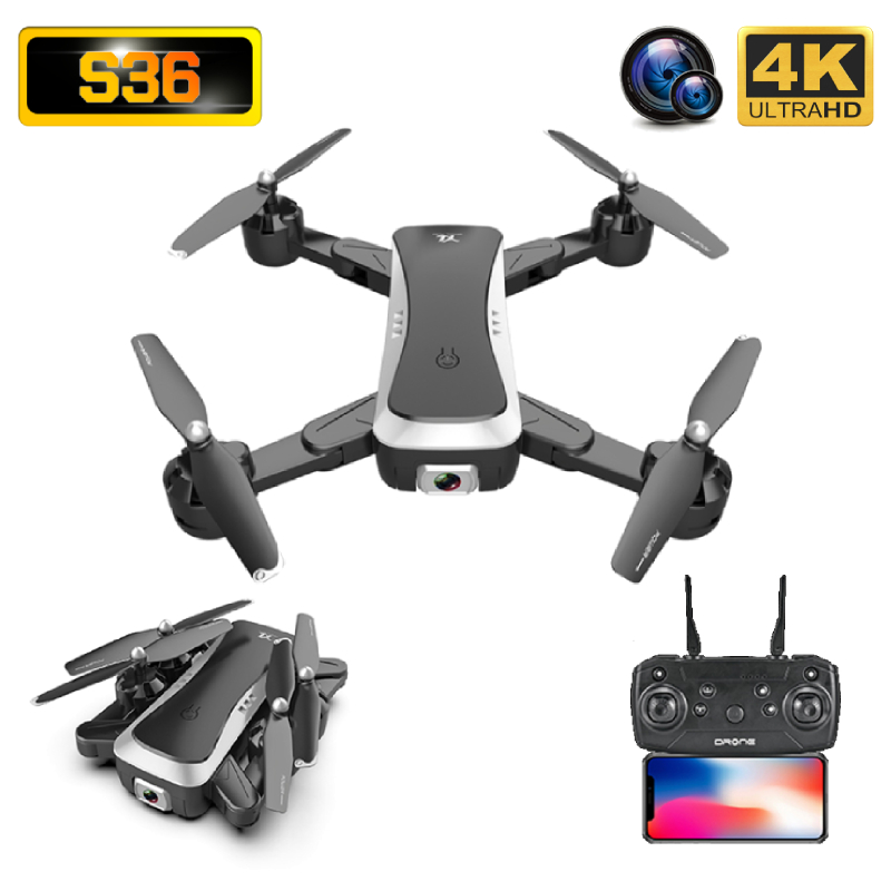 S36 Drone 4K HD ESC Wide Angle Dual Camera WIFI FPV Foldable Optical Flow Selfie Drones Professional Follow Me RC Quadcopter