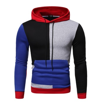 New fashion European and American men's casual Pullover color contrast European Hoodie