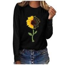 Женская футболка осень зима размера плюс с длинным рукавом Базовые Рубашки повседневные женские футболки с подсолнухом и буквенным принтом топы Осенняя Футболка женская
