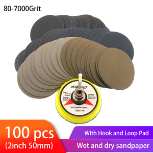 100pcs Wet Dry Sandpaper Assortment 80-7000 Grit Sander Disc 2inch 50mm With Hook and Loop Sanding pad for Wood