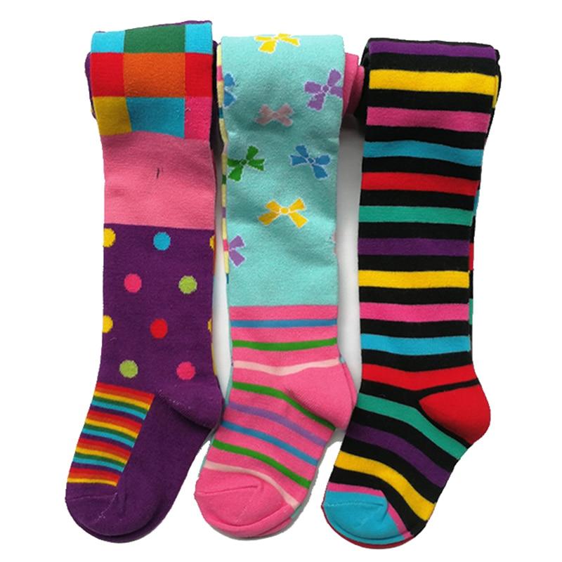 3 Pcs Pack Baby Girl Autumn Winter Striped Tights Children Pantyhose Stockings Girls Knee High Flower Kids Girl Tights 1