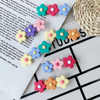 2021 INS Fashion Silicone Flower Hair Clip Women Girls Cute Colorful Barrettes Sweet Side Clips Hairpins Kawaii Hair Accessories image