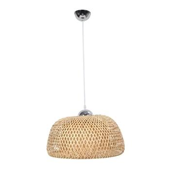 Vintage Woven Pendant Lamp Natural Bamboo Rattan Chandelier Handmade Garden Hanging Lamp Adjustable Height Hanging Lamps Restaur