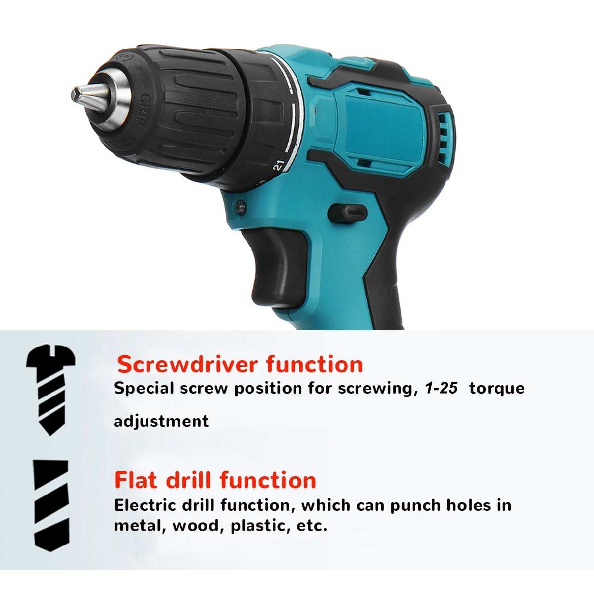Tools : Cordless Brushless Drill Electric Screwdriver Electric Drill Power Driver Lithium-Ion Battery Mini Drilling Cordless Screwdriver