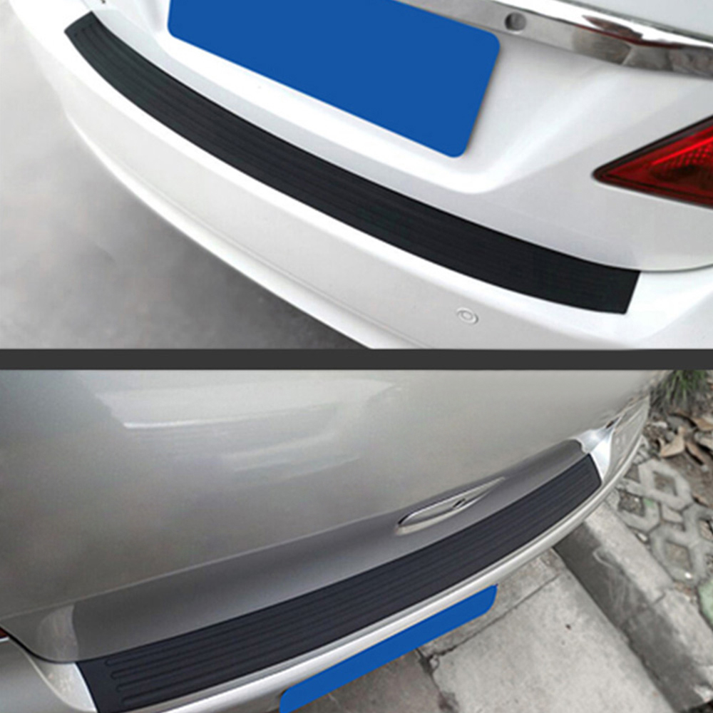 Blue Car Rear Guard Bumper Trunk Sill Plate Rubber PAD Protector Cover With Tape