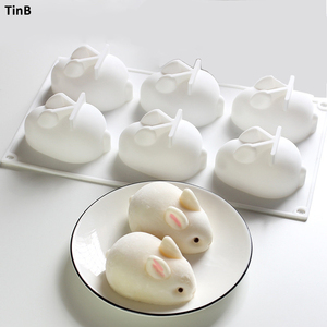 3D Rabbit Easter Bunny Silicone Mold Mousse Dessert Mold Cake Decorating Tools Jelly Baking Candy Chocolate Ice Cream Mould