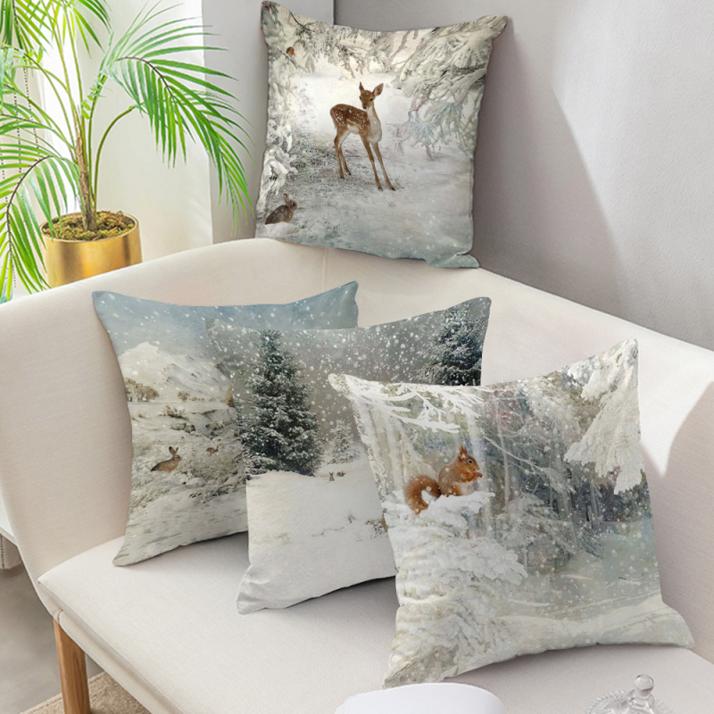Winter Snow 45cm*45cm Wild Animals Deer Design Throw Cushion Cover Cotton Sofa Pillow Cover Decorative Pillow Case Christmas Dec