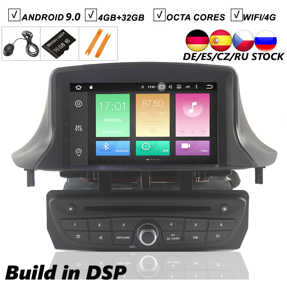 7''Car Android 9.0 DVD <font><b>GPS</b></font> Player For Renault <font><b>Megane</b></font> <font><b>3</b></font> Fluence 2009-2015 Vehicle Navigation Stereo Raido BT Wifi MAP 4G+64G DSP image