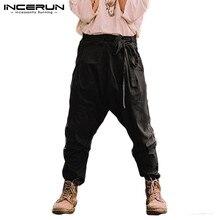 INCERUN England Trend Men Pure Color Wide Leg Casual Pants Mens Trousers With Belt Autumn Fashion Retro Elegant Suit Pants 2020