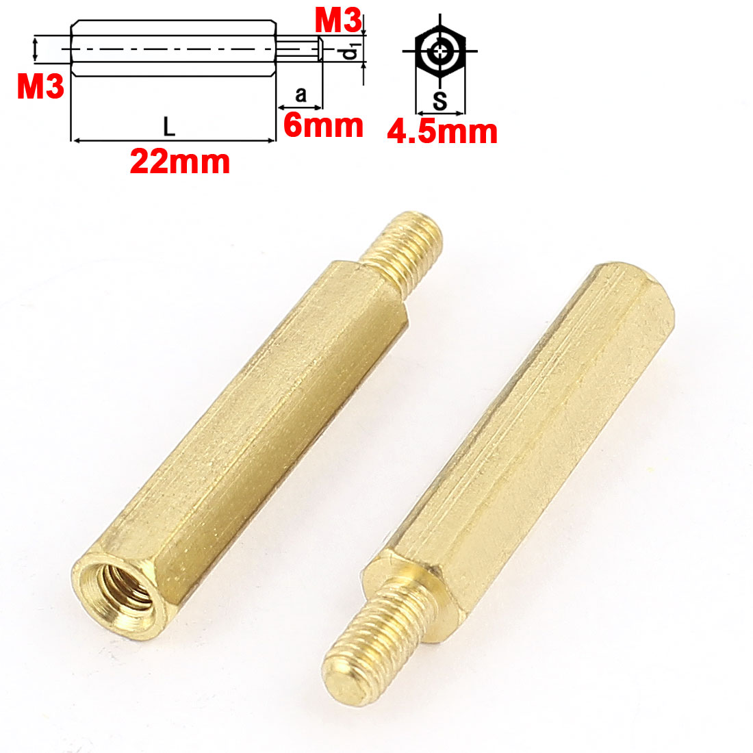 uxcell 100Pcs <font><b>M3</b></font> <font><b>22mm</b></font>+6mm Male Female Ordinary Brass Hex Standoff Spacer Screw Pillar image