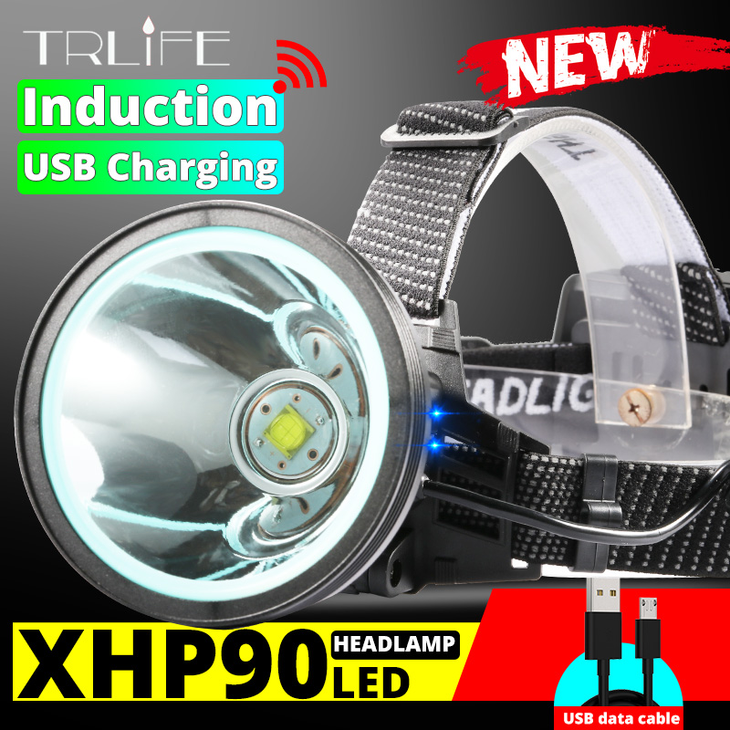 Outdoor Camping Search LED Fishing Light Induction Headlight High Power Rechargeable 18650 Headlight Long Battery Life Light Cup