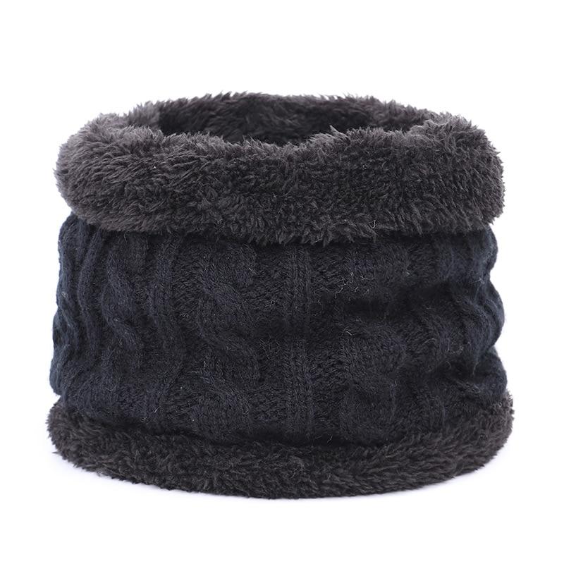 Круглый зимний шарф, детские милые вязаные шарфы, детские вязаные толстые бархатные кольца, мягкий теплый шейный платок для малышей из хлопка - Цвет: Black