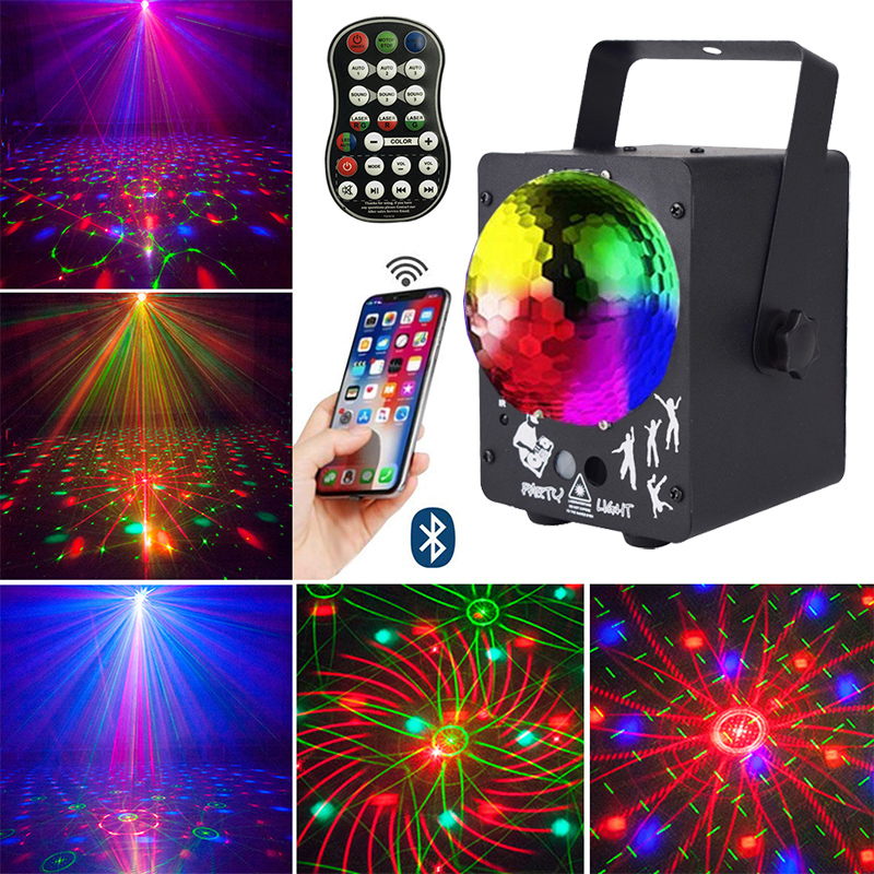 MP3 Led Disco Laser Light Projector Christmas Party Light Bluetooth Speaker Disco Ball RGB DJ Stage Lights Decorations For Home