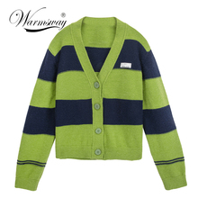 Womens Green Knitted Cardigan Sweater Drop Shulder Chic Striped Patchwork Streetwear Korean Knitwear Short All-match 2021 C-278