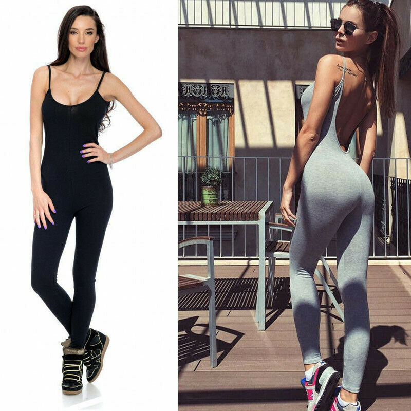 Womens Spaghetti Strap Slim Fit Jumpsuit Sport Fitness Unitard Pants Sleeveless Backless Solid Color Skinny Suits Clothes