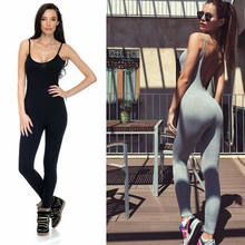 Femmes Spaghetti sangle Slim Fit combinaison Sport Fitness Unitard pantalon sans manches dos nu couleur unie Skinny costumes vêtements(China)