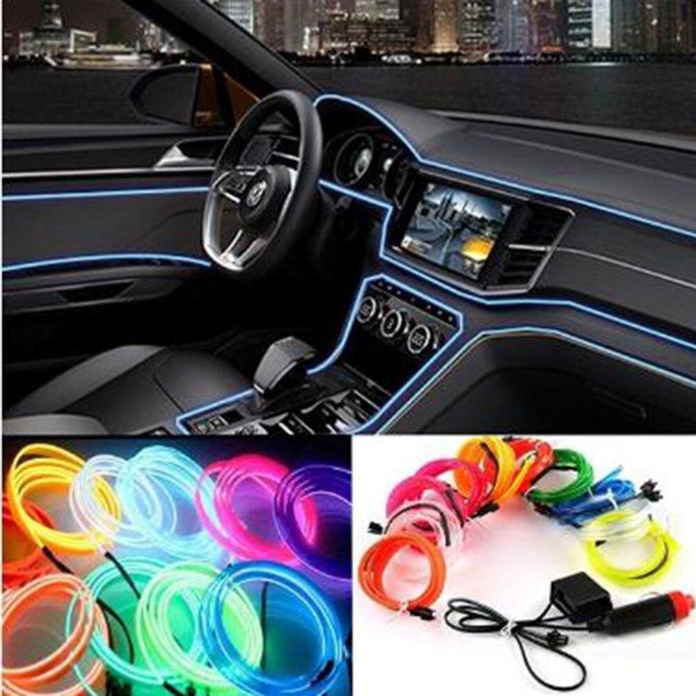 3M Car Interior Light Strip 12V LED Cold Lights Flexible Neon EL Wire Auto Lights Strip Line Interior Decoration Strips Lamp
