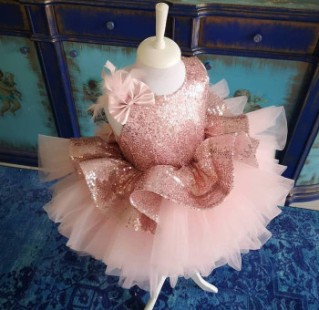Pink Sequined Flower Girl Dresses Knee Length Baby Girls First Birthday Dresses Puffy Communion Pageant Dresses Clothes