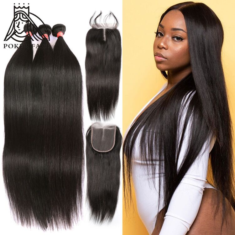 8 28 30 Inch Brazilian Hair Weave Straight Human Hair 3 4 Bundles With Lace Closure Straight Hair Double Drawn Bundles Remy 3 4 Bundles With Closure Aliexpress