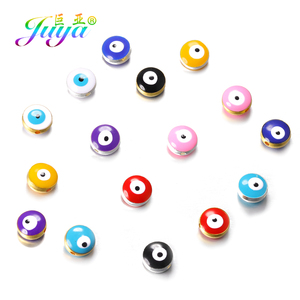 Juya 15pcs/lot Small Hole 10mm Enamel Charm Beads Supplies Handmade Greek Evil Eye Beads For Needlework Turkish Jewelry Making