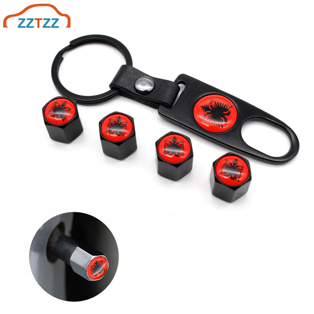 4Pcs Zinc Alloy Albania Flag Car Wheel Tire Valve Caps Air Cover+1Pcs Leather Buckle Wrench Car Styling Accessories